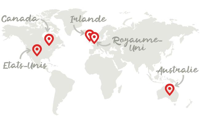 Destinations proposées dans le cadre du programme Isilangue